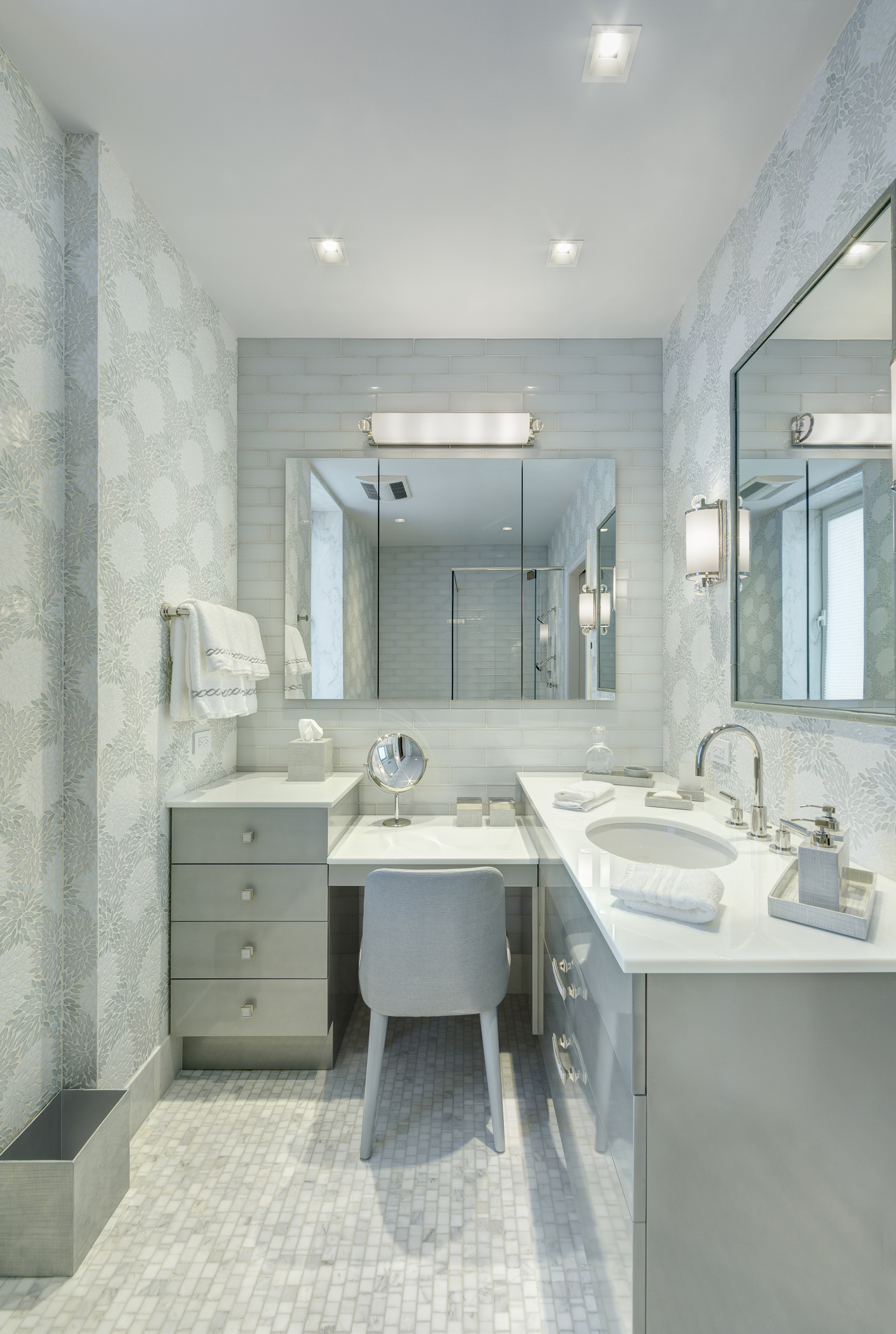 Pacific White Marble Mosaic installation photo